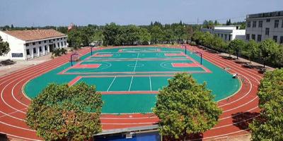 湖南益阳南县三岔河乡中心学校透气型塑胶跑道案例